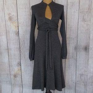 Theory Charcoal Tie Waist Long Sleeve Dress Sz S